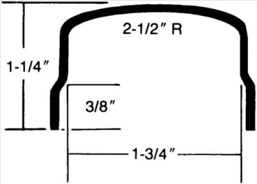 "#309 — ""U"" Shaped with Radius and Overlap - 90 degree - 1-1/4"" x 1-3/4"" I.D. x 1-1/4"""